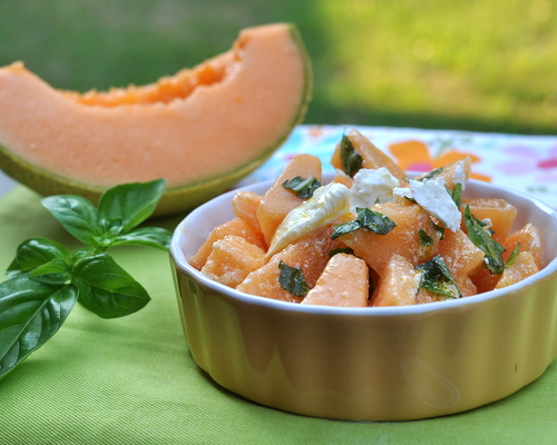 Cantaloupe Salad with Feta & Basil, another easy summer recipe ♥ KitchenParade.com, just sweet summer melon in an almost-savory salad, just five ingredients. Make it for lunch, make it dessert. Low Carb. Weight Watchers Friendly.