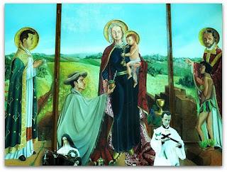 Painel religioso missioneiro na Igreja Matriz de São Luiz Gonzaga.