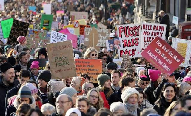 women worldwide march in protest at Donald Trump