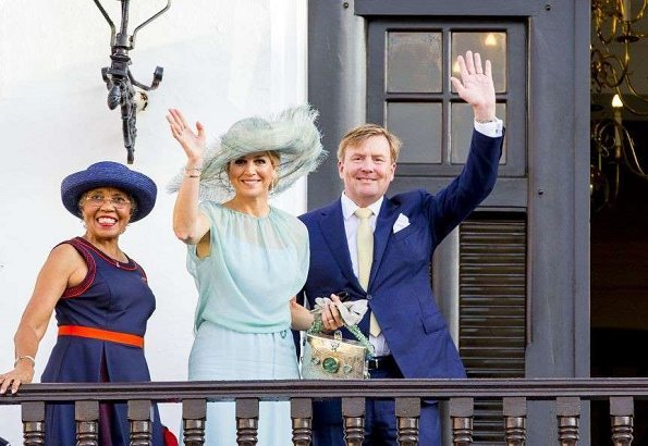 King Willem-Alexander and Queen Maxima attended the celebrations of Curacao Anthem and Flag Day 2018 (Dia di Bandera). wore Natan dress