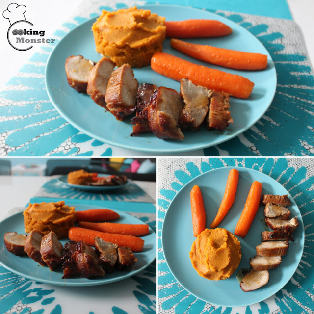 Polędwiczki wieprzowe z purée z batatów i glazurowanymi w miodzie marchewkami