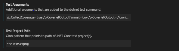 Part of  the .Net Core Test Explore settings