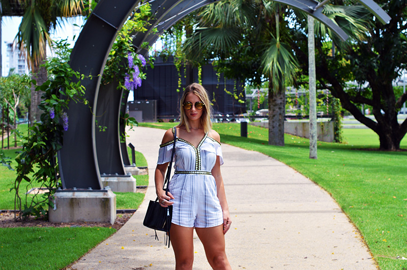 minimalist boho look with off shoulder playsuit