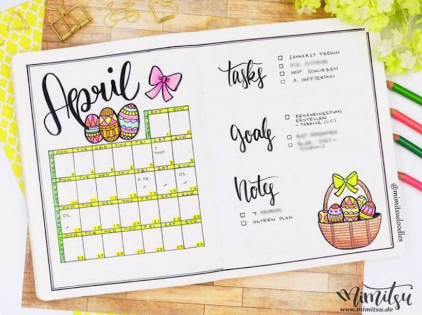 Example of Bullet Journal Monthly Spreads 3