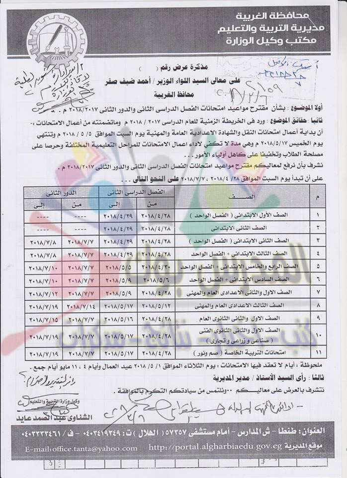 جدول امتحانات آخر العام محافظة الغربية 2018