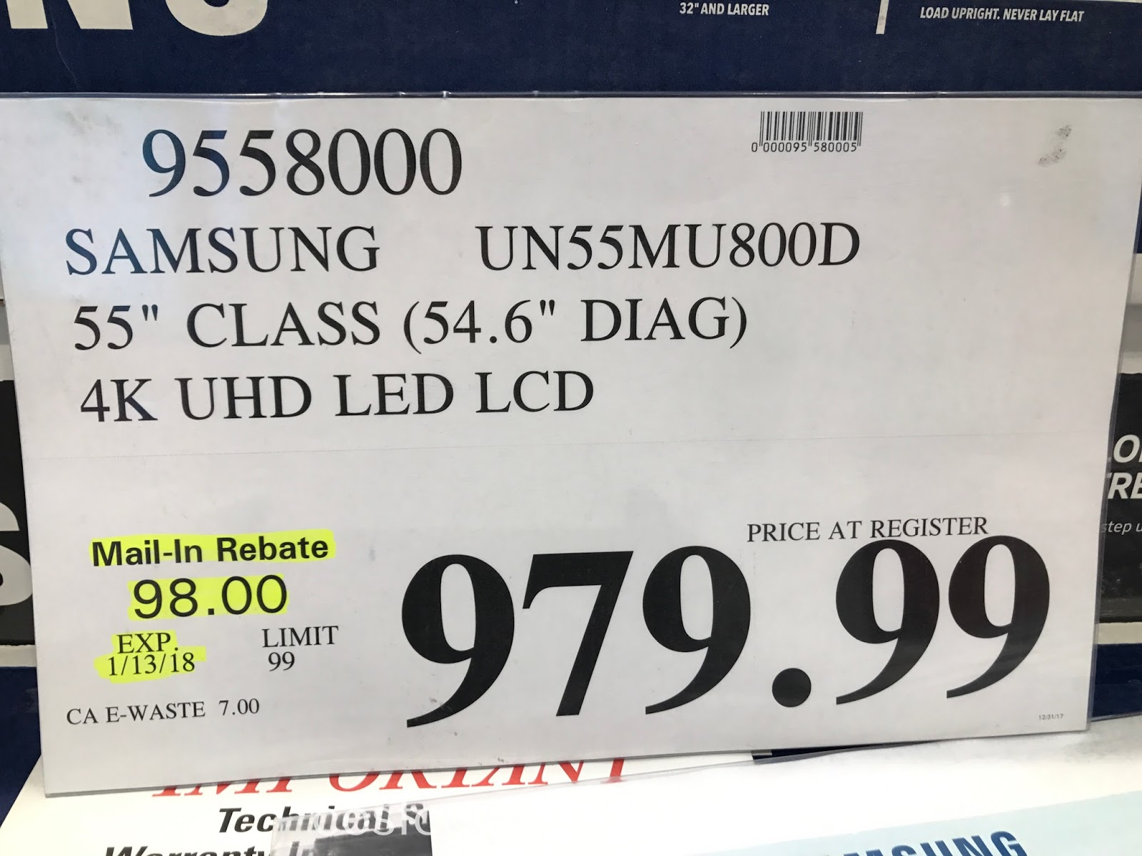 Deal for the Samsung UN55MU800D 55 inch tv at Costco