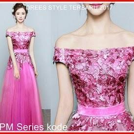 2SPM Gaun Model Dress Wanita Korea Pesta Pink Bj5002