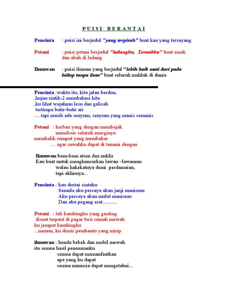 Puisi Berantai Lucu Wood Scribd Indo