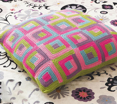 Multi-coloured Squares Cushion - Free Pattern