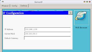 Setting IP server terlebih dahulu. IP yang digunakan adalah IP kelas C, yaitu 192.168.1.100.