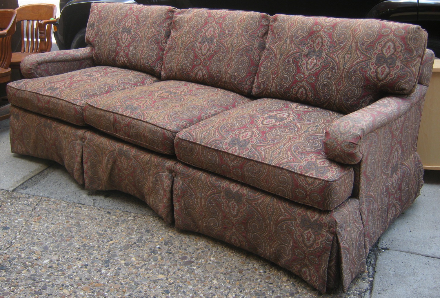 Henredon Sofa Fabrics Armless Loveseat Sleeper Paisley Simmons Emory Brownstone Thesofa