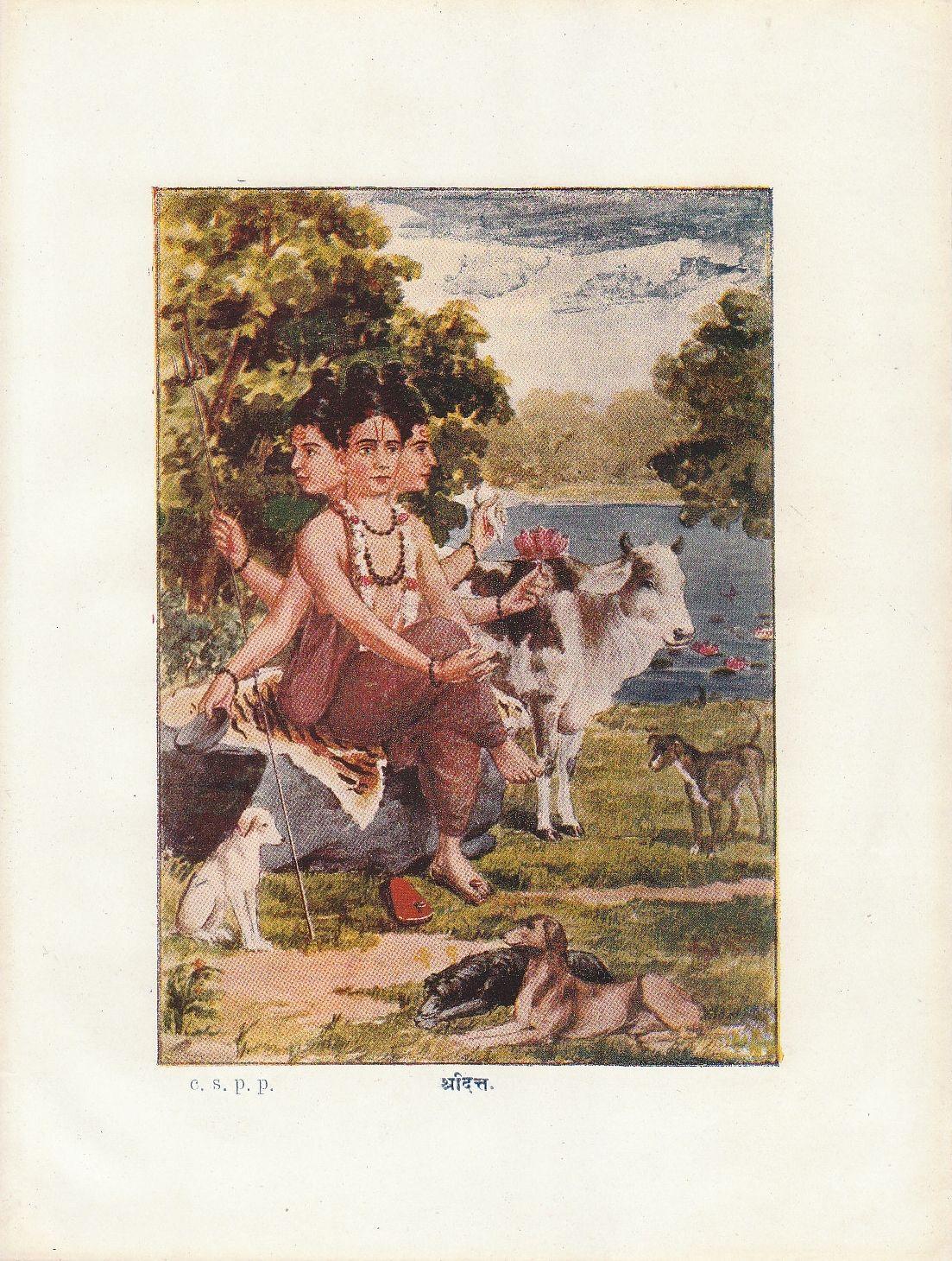 Sridutta (Dattatreya) - Indian Lithograph,  Chitrashala Press, Pune c1920-30