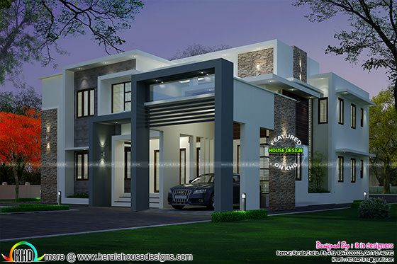 4 bedroom modern house night view and day view kerala for Modern house plans 5000 square feet