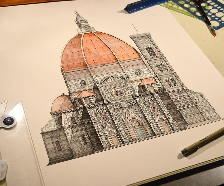 03-Duomo-Florence-Italy-M-Gruneberg-Architecture-Ink-and-Pencil-Drawings-www-designstack-co