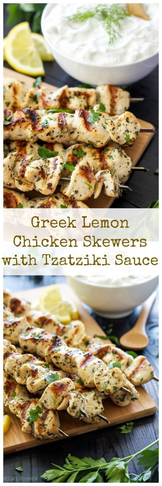 GREEK LEMON CHICKEN SKEWERS WITH TZATZIKI SAUCE