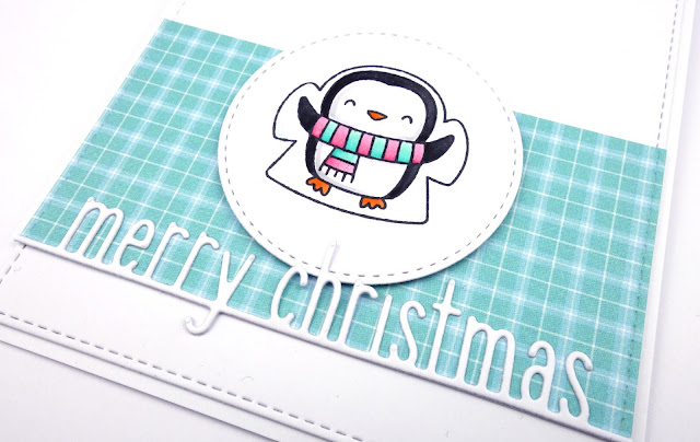Handcrafted Christmas card with cute snow angel penguin (stamp from Pretty Pink Posh)