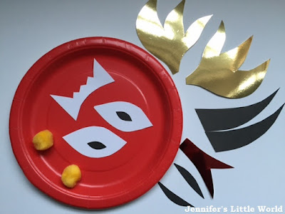 Chinese New Year simple paper plate dragon mask