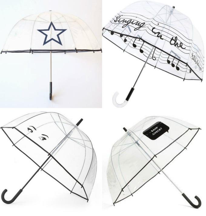 modelos de paraguas de burbuja transparentes con motivos negros