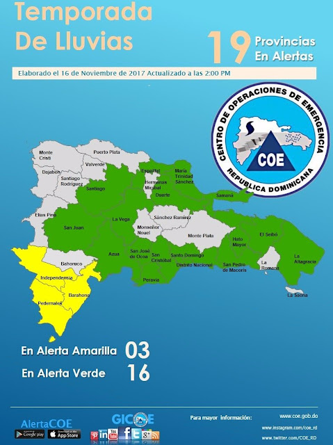 COE aumenta a 19 las provincias en alerta por lluvias