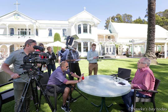 Garry Craft, event director, Sport and Entertainment Ltd, announcing The Dixie Chicks as the artists for next year's Mission Concert at The Mission Estate Winery, in Taradale, Napier. photograph