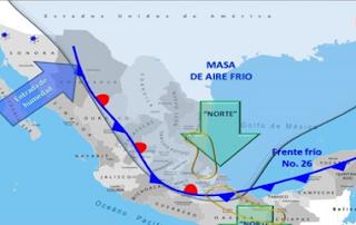 Frente Frío 26 dejara evento de Norte y bajas temperaturas Golfo Mexico