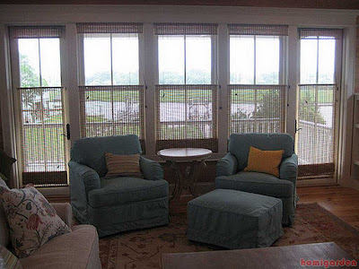 Roman bamboo living room window treatments