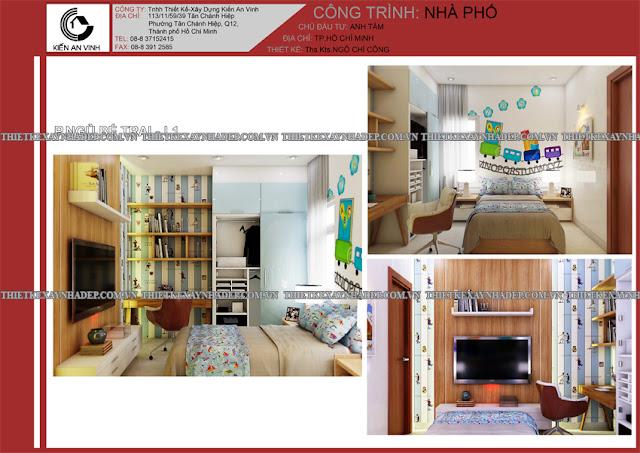 Mẫu thiết kế đẹp 2 tầng bán cổ điển mặt tiền 5m tại Long An Phong-ngu-be-trai