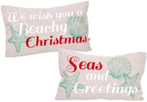 Beach and Sea Quote Christmas Pillows