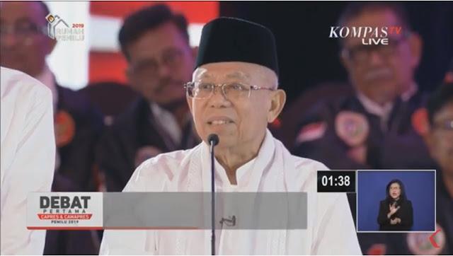 Debat Capres, Ma'ruf Amin Ditegur Moderator: Ini Bukan Pidato