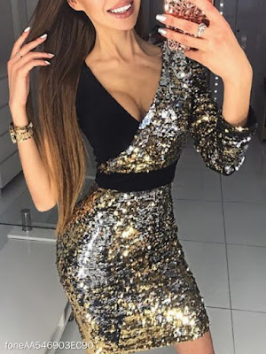 Surplice Patchwork Glitter Tie/Dye Evening Dresses