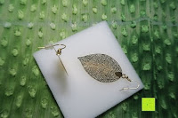 oben Seite: ZEEme Damen-Ohrhänger Messing Blatt Metall vergoldet 6.2 cm - 374030016