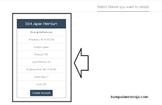 Memlilih Server japan di Fullssh