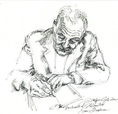 Doderer, pen and ink drawing,poet, novelist, austria, portrait