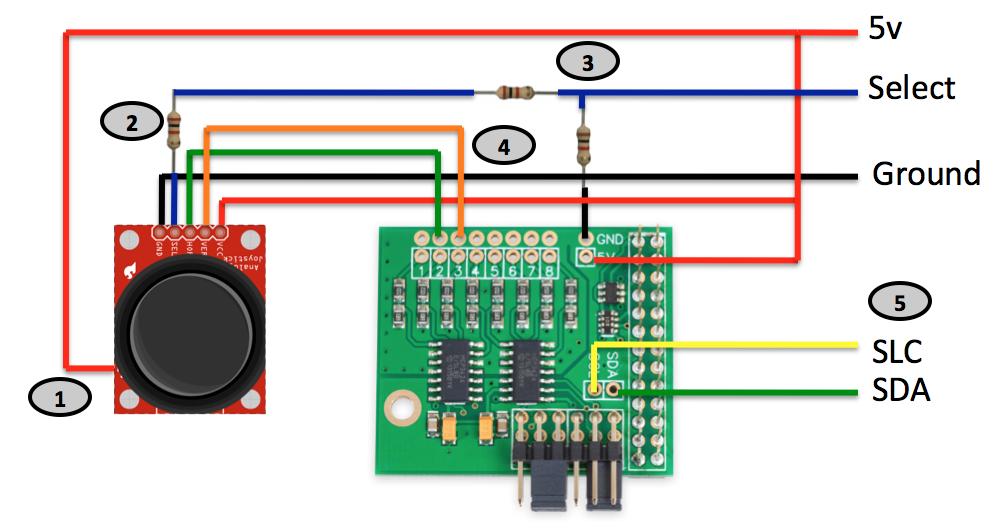 the making of a maker integrating a joystick via i2c with. Black Bedroom Furniture Sets. Home Design Ideas