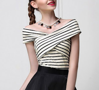 Stripes pattern trend - White Plain Elegant V Neck Cropped Top from MASKED QUEEN - Price:$29.00
