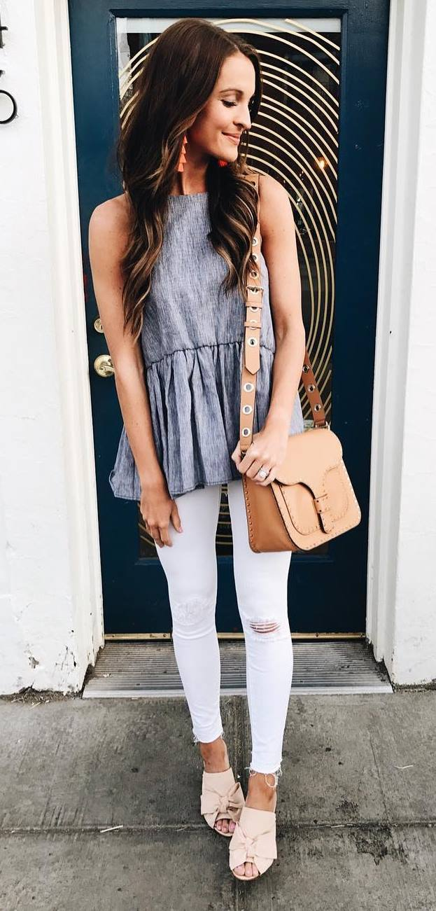 summer casual style outfit: top + bag + rips