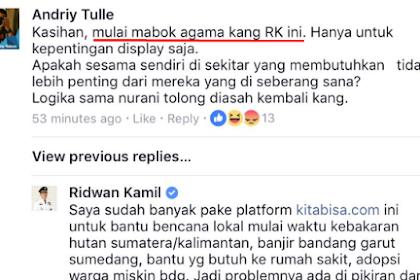 """Galang Dana Untuk Rohingya, Ridwan Kamil Malah Dibilang """"Mabok Agama"""", Jangan-Jangan Yang Komen Kecebong"""