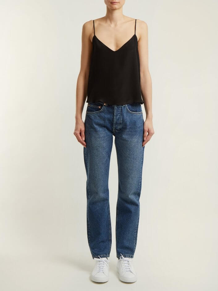 Loose Black Silk Top With Thin Straps