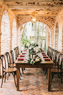 reception location and table setting