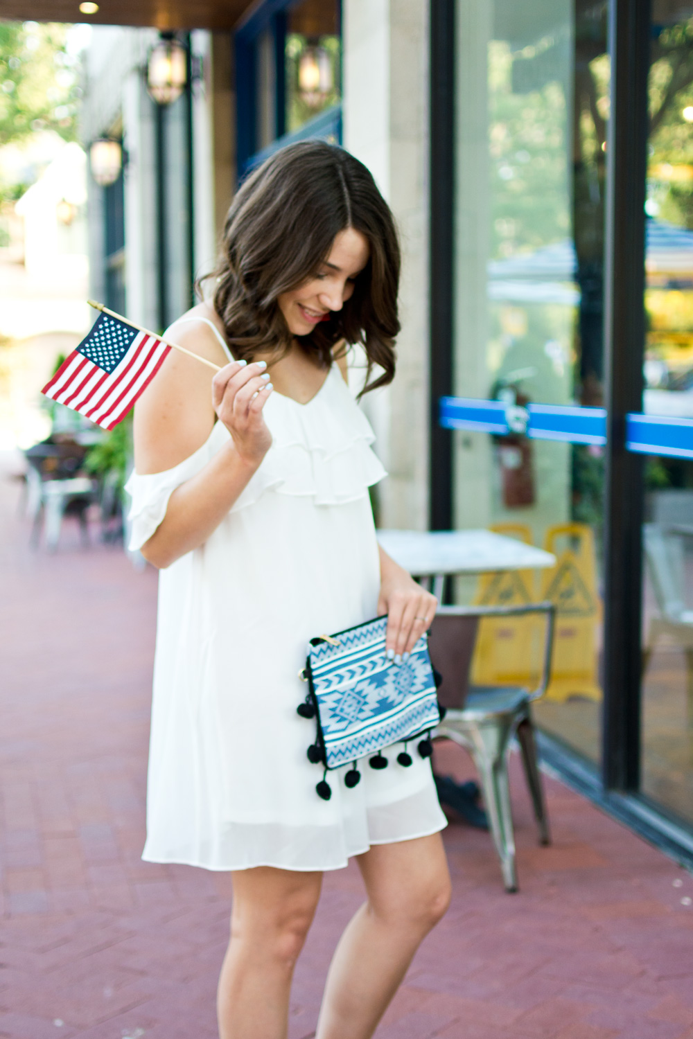 White cold shoulder sundress styled for the 4th of July
