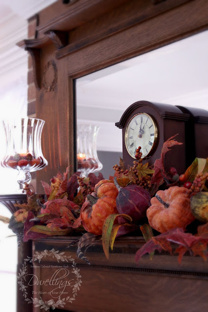 Fall mantel in the keeping room ... Fall Home Tour 2015 ~ DWELLINGS - The Heart of Your Home