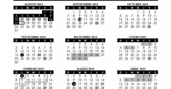 SEP Calendario Escolar 2014-2015 (Ciclo Escolar 2014-2015