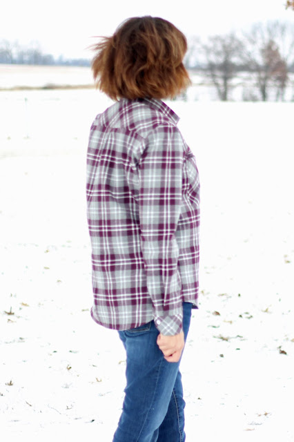 Mood Fabrics' plaid flannel Archer shirts - side view with matching plaid