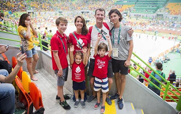 Prince Joachim, Princess Marie, Prince Felix, Prince Nikolai, Princess Athena and Prince Henrik at 2016 Summer Olympics in Rio