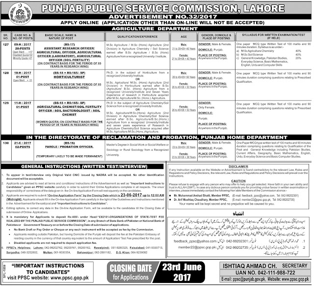 Government Jobs in Punjab Public Service Commission 2017