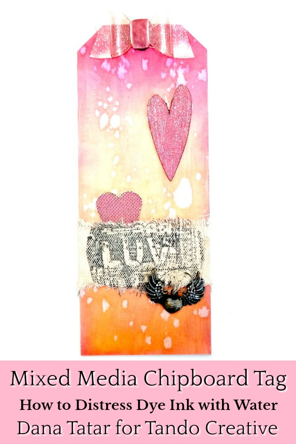 Pink Mixed Media Chipboard Love Tag with Distressed Dye Ink Background