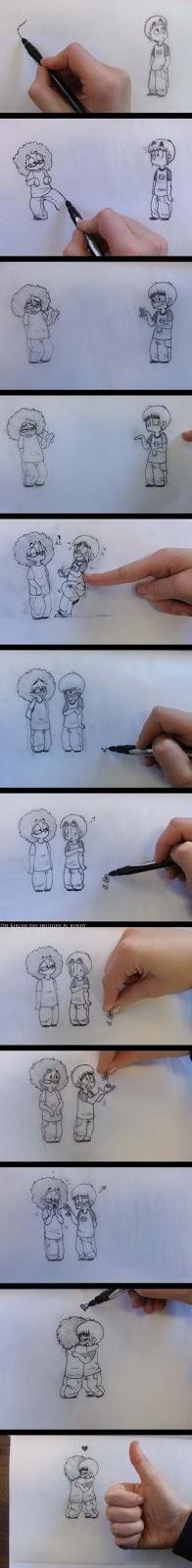 Zeichnung von Liebespaar witzig