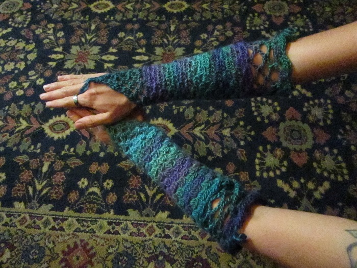 fingerless gloves, gauntlets, elbow length, Red Heart Boutique Unforgettable