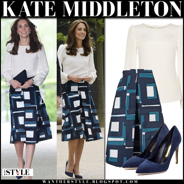 Kate Middleton in white blouse, blue geo print banana republic midi skirt what she wore