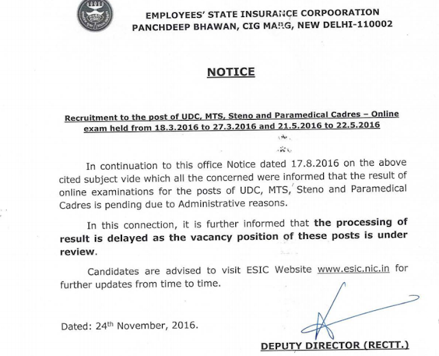 ESIC UDC, MTS and STENO Results 2016